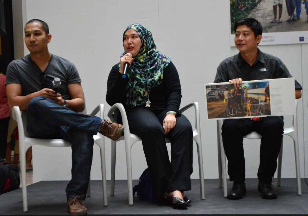 Nur Azmina on stage during the launch of the exhibition